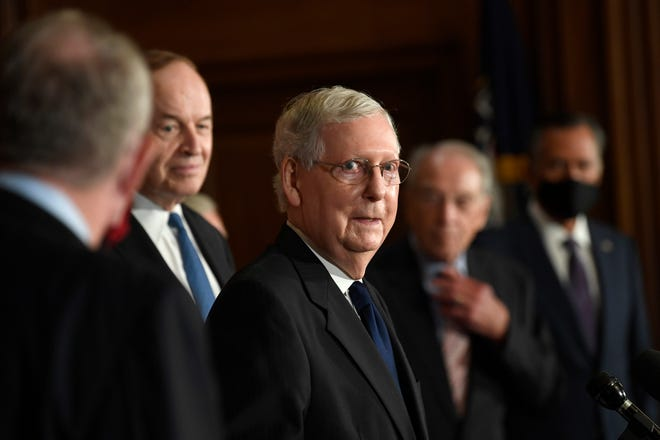 Senate Majority Leader Mitch McConnell of Ky., speaks during a news conference on Capitol Hill in Washington, Monday, July 27, 2020, to highlight the new Republican coronavirus aid package. (AP Photo/Susan Walsh)