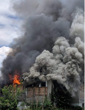 A fire broke out at 2:17 p.m. Monday at a vacant two-story house at 30 Lexington Ave.