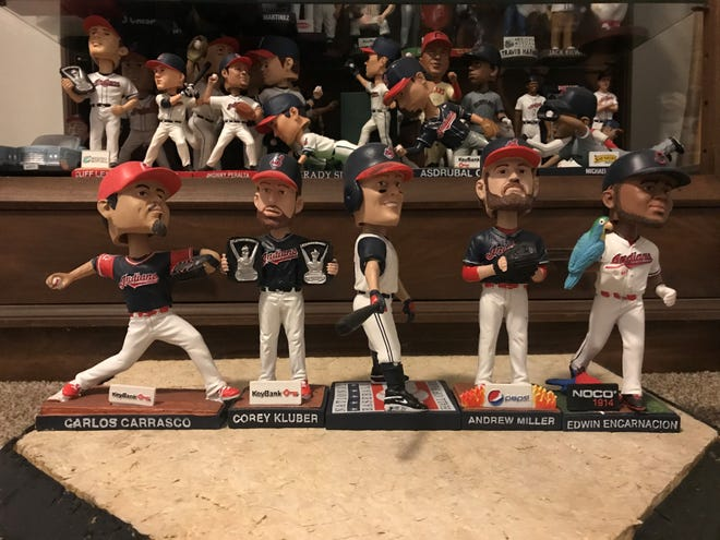 The 2018 Cleveland Indians bobblehead giveaway lineup included Carlos Carrasco, Corey Kluber, Jim Thome, Andrew Miller and Edwin Encarnacion.