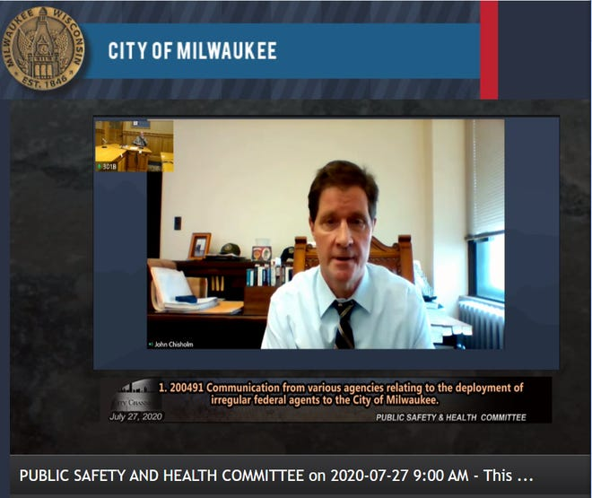 Milwaukee County District Attorney John Chisholm addressed concerns of Milwaukee Common Council members over federal officers being sent to Milwaukee.