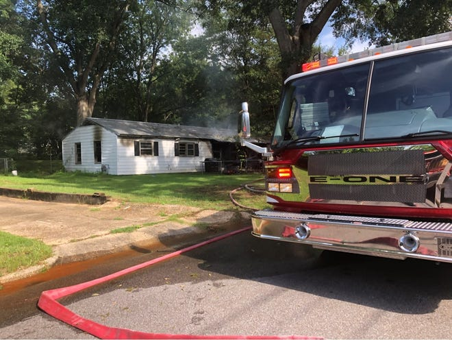 A Cottondale Road home that was heavily damaged in a Monday morning blaze is seen in this photo provided by Montgomery Fire/Rescue.