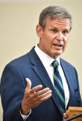 Governor Bill Lee talks with the media after attending a briefing with the Dr. Deborah Birx and other health officials in Nashville, Tenn. Monday, July 27, 2020