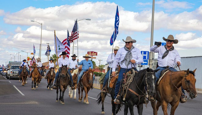 """Saturday's """"Let Freedom Ring"""" rally featured Cowboys 4 Trump, a biker club, candidate for New Mexico House Representative Scott Chandler, as well as surrogates from the Yvette Herrell Campaign.A total of 63 motor vehicles bearing signs and American flags traveled the streets of Deming in support of law enforcement agencies. Led by Chandler and Dale Hooper, the C4T are rallying a cross the country.A photo gallery provided by Ron Wolfe is available at www.demingheadlight.com."""