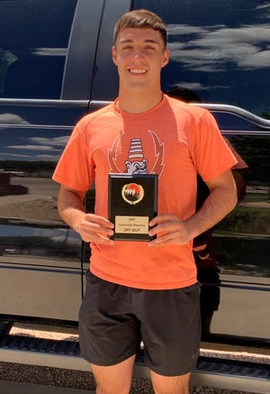 Artesia's Braxton McDonald displays his offensive MVP award won during the Midland showcase in Texas on July 25, 2020. McDonald led the Bulldogs last season in receptions, receiving yards, touchdowns and yards per play.