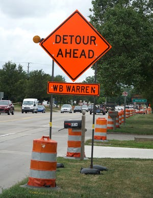Detour signs line Canton Center Road near Warren indicating the upcoming work that will close Warren for awhile.