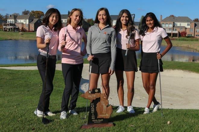Left to right: Haesol Park, Katelyn Tokarz, Samantha Coleman, Avneet Gill and Megha Vallabaneni will return for Northville this season.