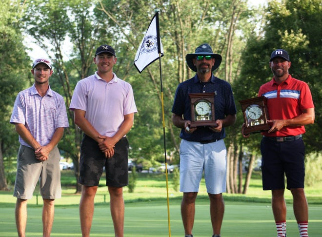 From left, runners-up Reed Huntzinger and Connor Sheehan pose with 2020 W.B. Sullivan champs Stu Hanford and Brian Blalock.
