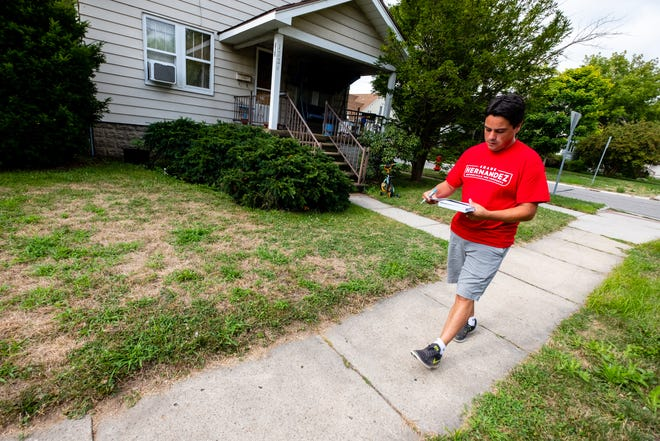 State Rep. Shane Hernandez, R-Port Huron, walks through a Port Huron neighborhood Monday, July 27, 2020. Hernandez announced in October that he was running for a seat in Michigan's 10th Congressional District.