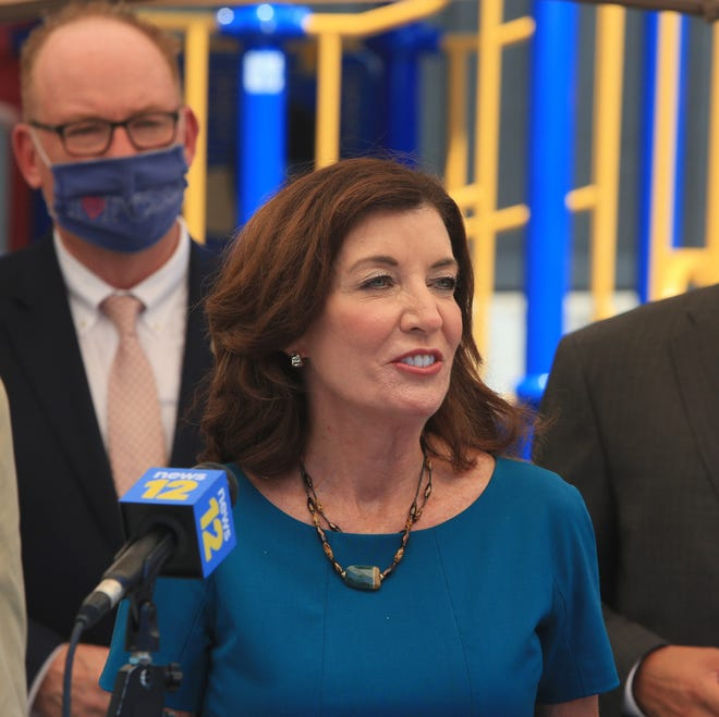New York Lieutenant Governor Kathy Hochul speaks during a press conference discussing child care providers at Community Family Development in the City of Poughkeepsie on July 27, 2020.