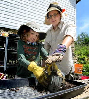 After mixing potting soil, Ali Collier-DeChristopher and her son Enzo, 6, use a soil blocker while planting beans at the family's Brabble Hill Farm in Codorus Township Monday, July 27, 2020. A kindergartner at Friendship Elementary School last year, Ali said Enzo will attend first grade via the Southern York County School District's Digital Academy curriculum. Bill Kalina photo