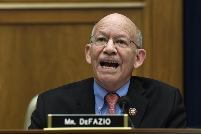 Rep. Peter DeFazio, D-Ore., speaks during a House Transportation Committee hearing on Capitol Hill in Washington in 2019.