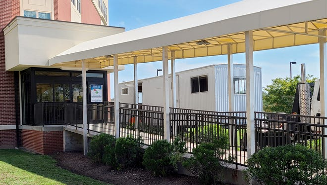 With continued protections forresidents, a visitation trailer is being put in place outside Tawes Nursing Home in Crisfield, Maryland, to provide a safe place to connect with their loved ones, Peninsula Regional Health System announced July 27, 2020.