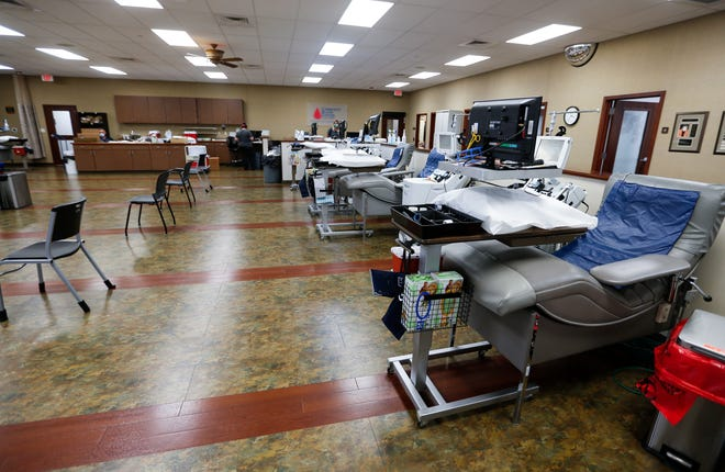 A mostly empty blood draw area at the Community Blood Center of the Ozarks on Monday, July 27, 2020. The blood center is reaching a 'critical need' of donors due to the COVID-19 Pandemic.