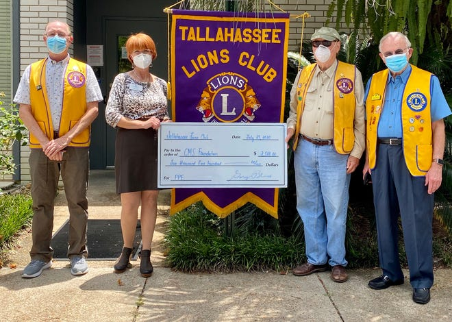 On July 21, Tallahassee Lions Club President Gary Bliss,  Vice President Bruce Bechard, and member Charles Holland, M.D. presented a $2,500 check to Pam Irwin, Executive Director of the Capital Medical Society Foundation to purchase Personal Protective Equipment .