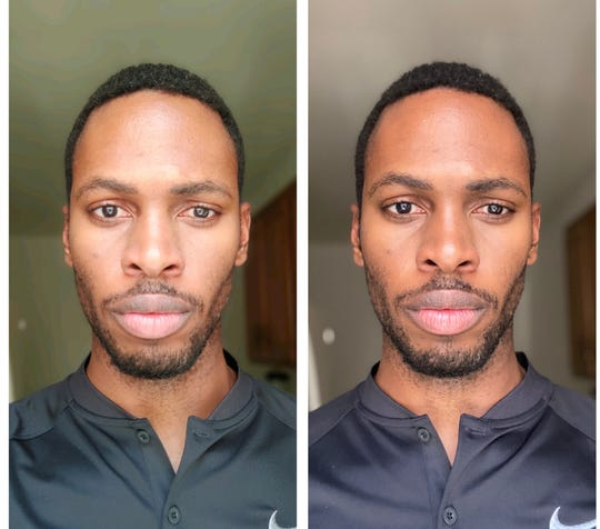 The photo on the left was taken with the LG Velvet.  The photo on the right was taken with an iPhone 11 Max Pro.