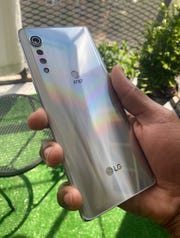 The LG Velvet has a shiny back that it is looking forward to.
