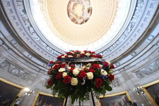 A wreath is displayed prior to a memorial service for former Rep. John Lewis in the Capitol Rotunda on July 27, 2020 in Washington, DC.