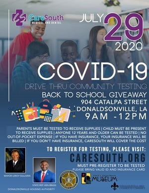 CareSouth is hosting a drive-thru community COVID-19 testing event and back-to-school giveaway.