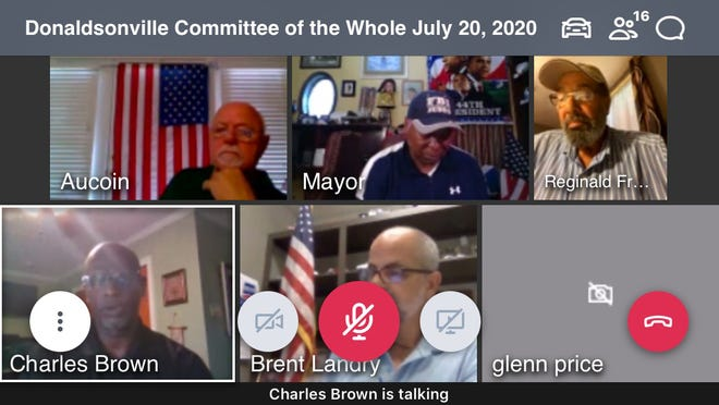 The Donaldsonville City Council and Mayor communicate via teleconference during the Committee of the Whole meeting July 20.