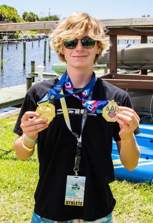 Campbell Carter of North Carolina won the AAU stand-up paddleboarding event in the 15-19 male youth division. It was the first time the sport was part of the AAU Junior Olympics.