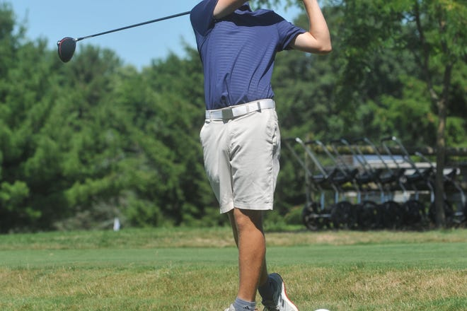 Fairbanks' Alex Crowe tees off on the 1st hole at Lincoln Hills Golf Club in the HOJGA Chad Wheeler Memorial Tournament.