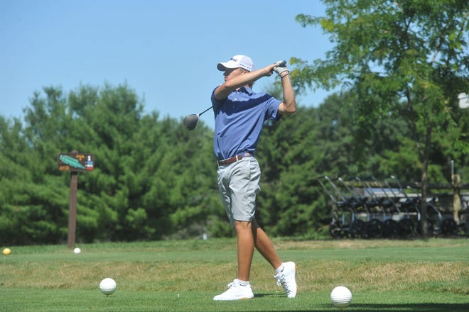 Galion's Spencer Keller tees off on the 1st hole at Lincoln Hills Golf Club in the HOJGA Chad Wheeler Memorial Tournament.
