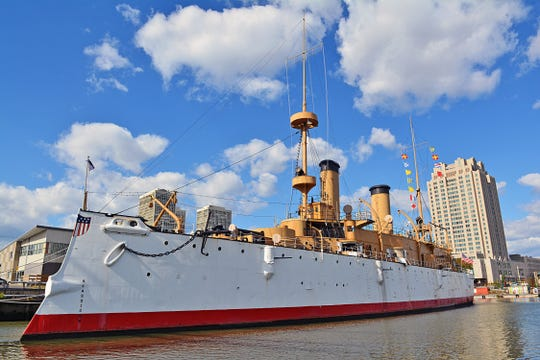 The Olympia, once the flagship of Adm. George Dewey, is open for weekend tours this summer at Independence Seaport Museum in Philadelphia. The ship is a veteran of the Spanish-American War and World War I.