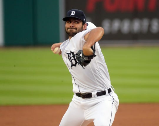 Tigers pitcher Michael Fulmer throws a pitch during the first inning against the Royals at Comerica Park on Monday, July 27, 2020.