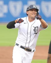 Tigers center fielder JaCoby Jones hits a three-run homer against Royals pitcher Mike Montgomery during the second inning at Comerica Park on Monday, July 27, 2020.