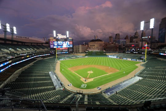 A look at Comerica Park during the Tigers opener against the Royals at Comerica Park on Monday, July 27, 2020.