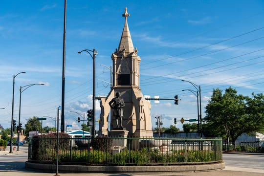 A Christopher Columbus statue stands on Chicago's South Side Monday. Alderwoman Susan Sadlowski Garza said Monday, the statue that was left standing after two other Columbus statues were removed last week may yet be taken down