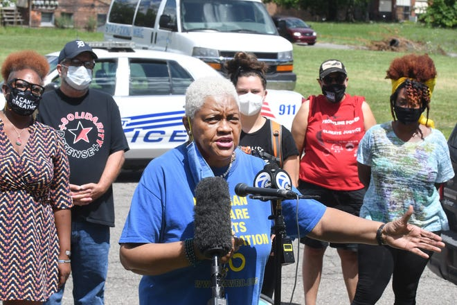 Activist Maureen Taylor speaks during the 'Detroit Will Breathe' press conference following recent police involved shootings in Detroit, Michigan on July 28, 2020.