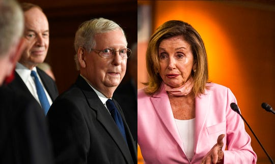 Senate Majority Leader Mitch McConnell of Ky., left, and House Speaker Nancy Pelosi of Calif.