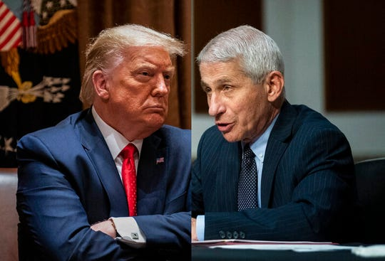 President Donald J. Trump, left, and Director of the National Institute of Allergy and Infectious Diseases Dr. Anthony Fauci.