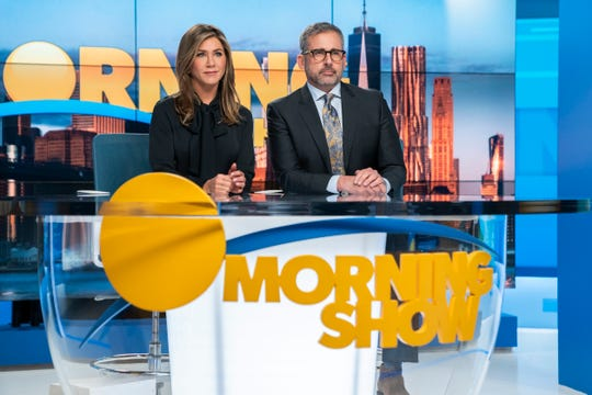 "This image released by Apple TV Plus shows Jennifer Aniston, left, and Steve Carell in a scene from ""The Morning Show."" Nominations for the  Emmy Awards will be announced on Tuesday, July 28."