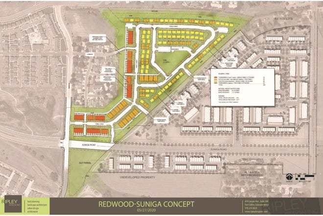 Site plan for Enclave at Redwood, a new project proposed for land north of the Alta Vista neighborhood in north Fort Collins.