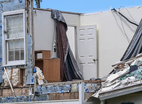 A home on Oxford Street in Seneca is unrepaired Tuesday, July 28, 2020. It was almost four months ago when an EF3 tornado ripped through Seneca the morning after Easter.