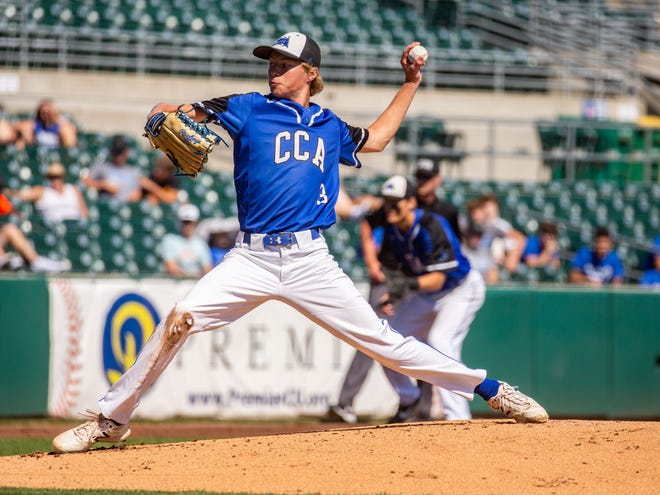Brock Reade pitches for Clear Creek-Amana during a State Baseball Quarterfinal game at Principal Park Tuesday, July 28, 2020.