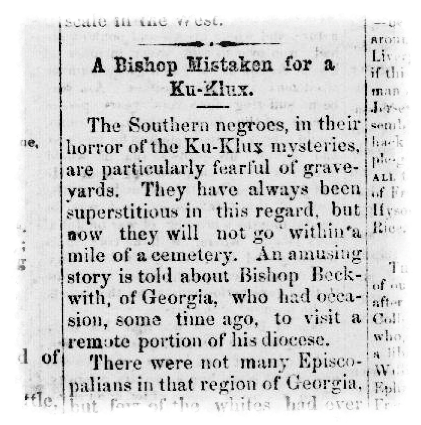 """Lafayette Advertiser clipping from Feb. 10, 1869, in which Black people are disparaged and said to be afraid of graveyards due to """"their horror of the Ku-Klux mysteries."""""""