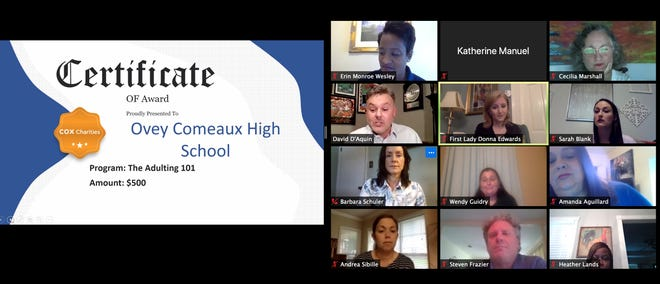 Comeaux High School was one of four Acadiana schools that received grants from Cox Charities for education programs. The awards were announced Tuesday on a Zoom call with winners.