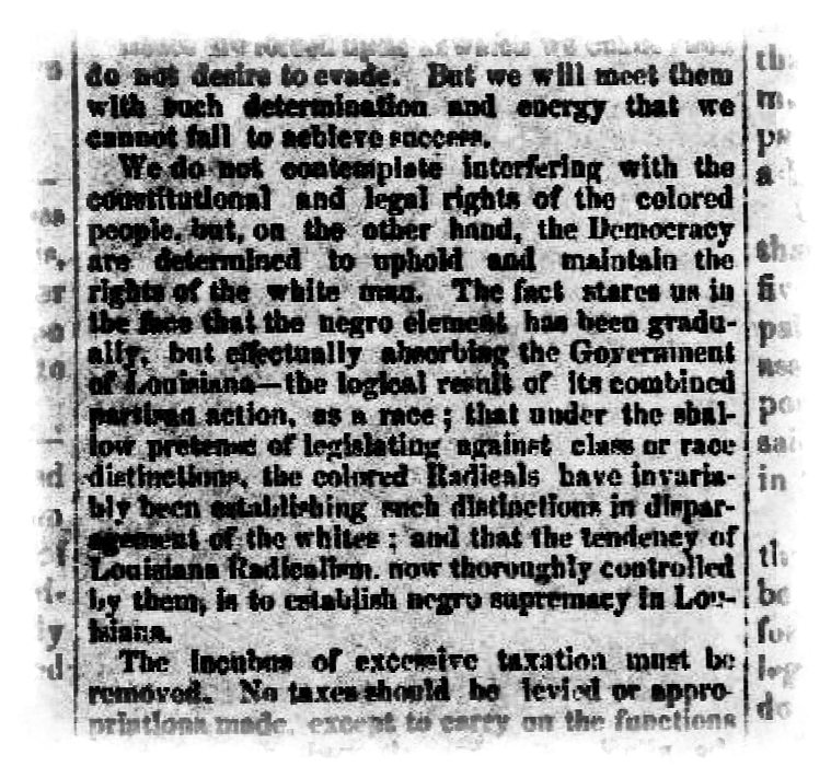 Lafayette Advertiser clipping from Aug. 8, 1874, promoting the Democratic party platform.