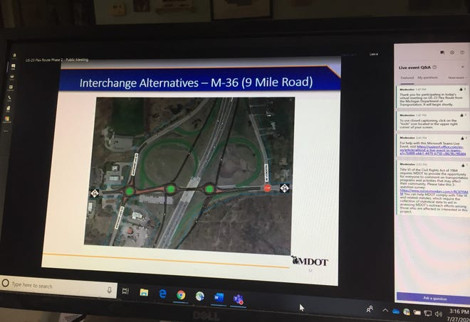 Michigan Department of Transportation presented a possible new design of the interchange of M-36 and US-23 during a virtual public meeting, Monday, July 27, 2020.