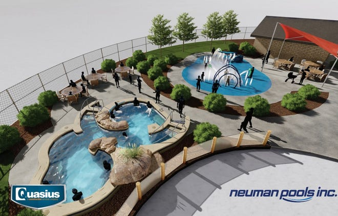 A rendering of the phase three expansion of the Manitowoc Family Aquatic Center.