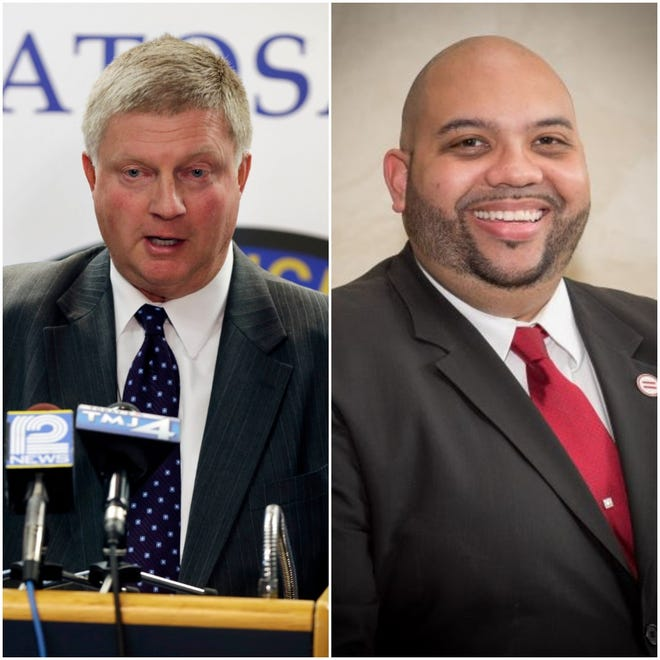 Wauwatosa Police Chief Barry Weber (left) sent a letter to Wauwaotsa's mayor, seeking the removal of Sean Lowe from the equity and inclusion commission.