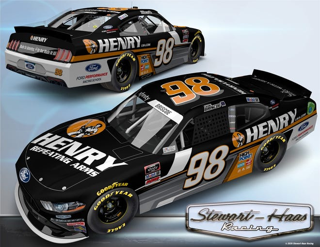 Chase Briscoe's No. 98 Stewart-Haas Racing Ford Mustang will be sponsored by Henry Repeating Arms for the NASCAR Xfinity Series Henry 180 on Aug. 8 at Road America in Elkhart Lake, Wis.