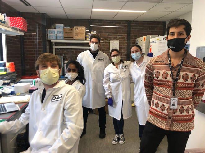 E25Bio scientists Adam Gomez, from left, Ankita Reddy, Dimitris Papageourgious, Nol Salcedo, Helena de Puig and Bobby Brooke Herrera.