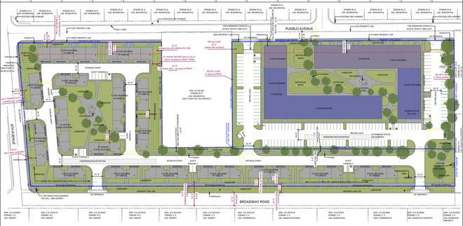 A drawing outlines preliminary plans for Chicanos Por La Causa's new affordable housing development, which will have 161 mixed-income apartments and 64 rent-to-own townhomes. South Phoenix residents say this development doesn't meet the needs of the community.