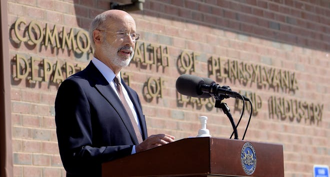 Gov. Tom Wolf speaks during his press conference at PA CareerLink in York Tuesday, July 28, 2020. Wolf was highlighting the importance of job-finding resources in light of the unemployment cause by the COVID-19 outbreak in the state. Bill Kalina photo