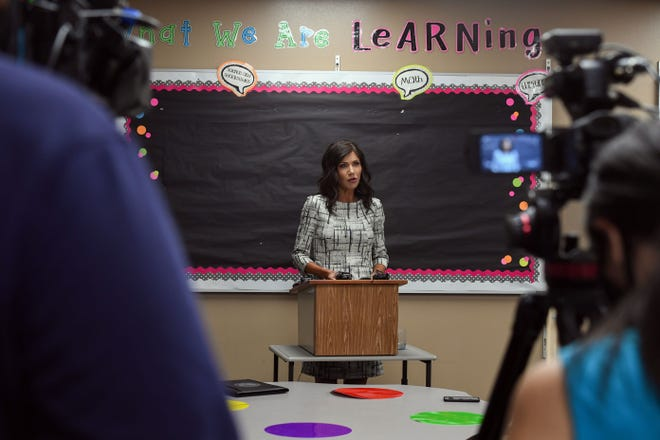 Gov. Kristi Noem gives an update on back to school planning on Tuesday, July 28, 2020, at John Harris Elementary School in Sioux Falls.