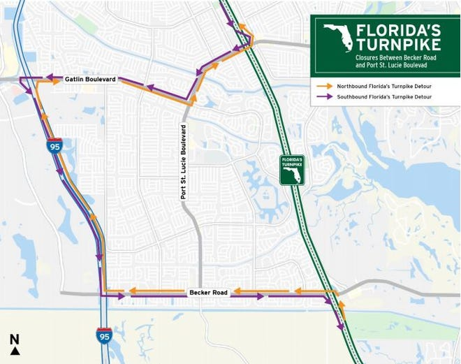 The Florida Department of Transportation plans to fully close the north and southbound lanes of Florida's Turnpike between Becker Road and Port St. Lucie Boulevard from 11 p.m. Tuesday, July 28 to 5 a.m. Wednesday, July 29.
